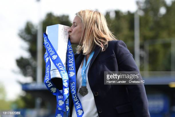 Emma Hayes, Manager of Chelsea celebrates with the Barclays FA Women's Super League Trophy following her team's victory in the Barclays FA Women's...