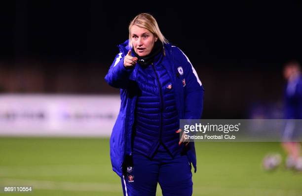Emma Hayes manager of Chelsea during a Continental Cup Match between Chelsea Ladies and Brighton Hove Albion Women on November 1 2017 in Brighton...