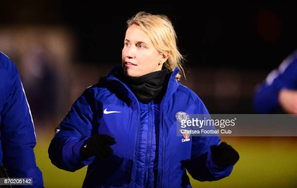 Emma Hayes manager of Chelsea during a Continental Tyres Cup match between Bristol City Women and Chelsea Ladies at on November 4 2017 in Bristol...