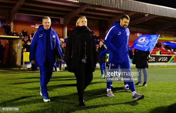 Emma Hayes manager of Chelsea during a WSL between Chelsea and Manchester City at The Cherry Red Records Stadium on February 1 2018 in Kingston upon...