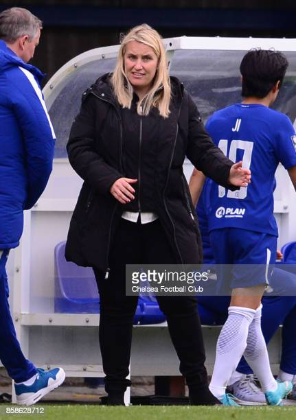 Emma Hayes manager of Chelsea during a WSL match between Chelsea Ladies and Liverpool Ladies at The Cherry Red Records Stadium on October 7 2017 in...