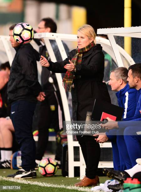 Emma Hayes manager of Chelsea during a WSL Match between Chelsea Ladies and Yeovil Ladies at The Cherry Red Records Stadium on October 15 2017 in...