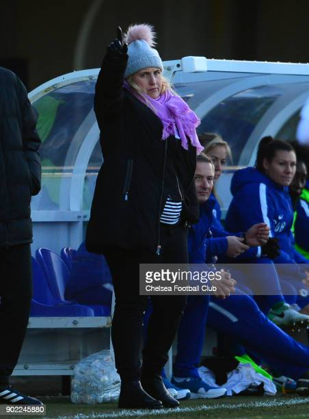Emma Hayes manager of Chelsea during a WSL match between Chelsea Ladies and Arsenal Women at The Cherry Red Records Stadium on January 7 2018 in...