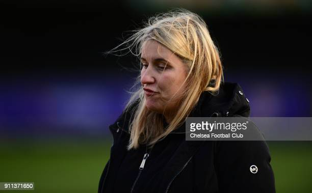 Emma Hayes manager of Chelsea during a WSL match between Chelsea Ladies and Everton Ladies at The Cherry Red Records Stadium on January 28 2018 in...