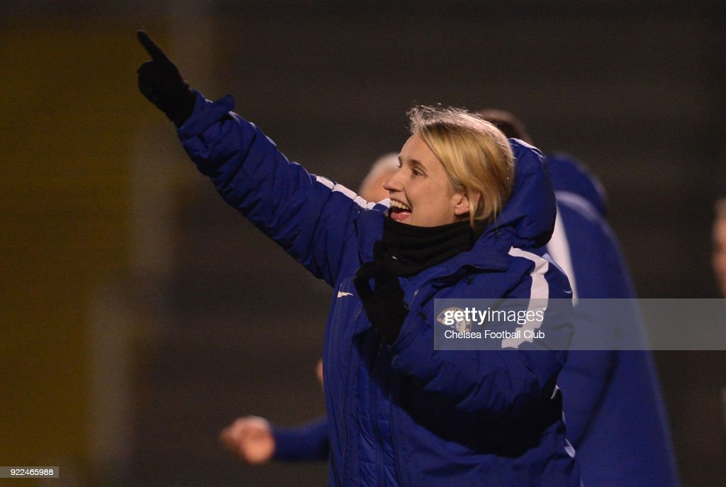 Emma Hayes, manager of Chelsea during a WSL match between Chelsea and Yeovil Town Ladies at Huish Park on February 21, 2018 in Yeovil, England.