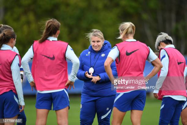 Emma Hayes, Manager of Chelsea gives her team instructions during a Chelsea FC Women's Training Session at Chelsea Training Ground on September 30,...
