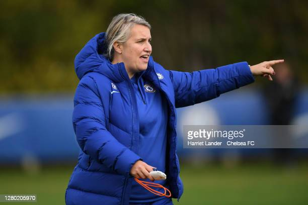 Emma Hayes Manager of Chelsea gives her team instructions during a Chelsea FC Women's Training Session at Chelsea Training Ground on October 14 2020...