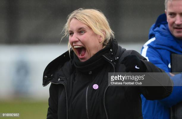 Emma Hayes manager of Chelsea looks happy during the WS1 match between Birmingham City Ladies and Chelsea Ladies at The Automated Technology Group...