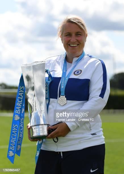 Emma Hayes Manager of Chelsea poses for a photo with the Barclays FA Women's Super League trophy prior to a Chelsea FC Women's Training Session at...