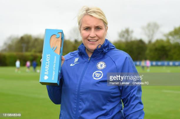 Emma Hayes, Manager of Chelsea poses for a photograph with her Barclays FA Women's Super League Manager of the Season 2020/21 Award at Chelsea...