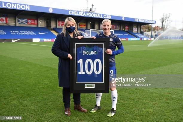 Emma Hayes, Manager of Chelsea presents Bethany England of Chelsea with a commemorative shirt marking 100 appearances for the club prior to the...