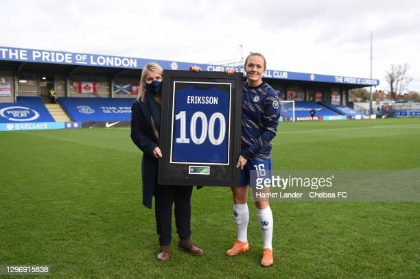 Emma Hayes, Manager of Chelsea presents Magdalena Eriksson of Chelsea with a commemorative shirt marking 100 appearances for the club prior to the...