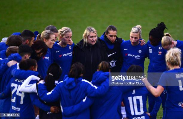 Emma Hayes manager of Chelsea talks to her team after a Continental Cup semi final match between Chelsea and Manchester City at The Cherry Red...