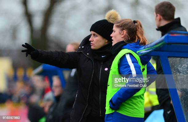 Emma Hayes manager of Chelsea talks to Maren Mjelde of Chelsea during the WS1 match between Birmingham City Ladies and Chelsea Ladies at The...