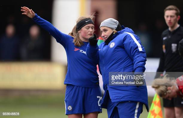 Emma Hayes manager of Chelsea talks with Erin Cuthbert of Chelsea during a FA Women's Cup between Chelsea and Liverpool Ladies at Prescot Cables...