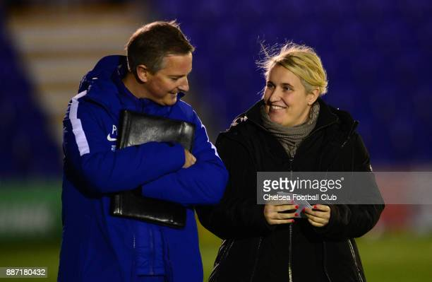 Emma Hayes of Chelsea before a Continental Tyres Cup Match between Chelsea Ladies and Tottenham Ladies at The Cherry Red Records Stadium on December...