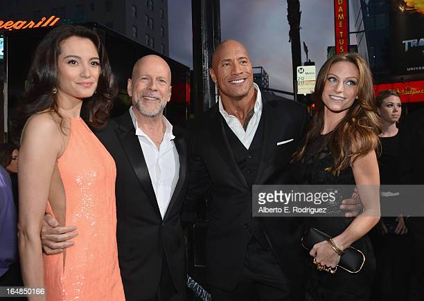 "Emma Heming, actor Bruce Willis, Dwayne ""The Rock"" Johnson and Lauren Hashian attends the premiere of Paramount Pictures' ""G.I. Joe: Retaliation"" at..."