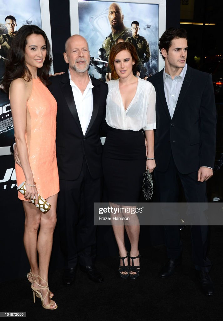 Emma Heming, actor Bruce Willis, Rumer Willis and Jayson Blair arrivesat the Premiere of Paramount Pictures' 'G.I. Joe: Retaliation' at TCL Chinese Theatre on March 28, 2013 in Hollywood, California.