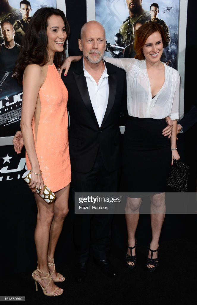 Emma Heming, actor Bruce Willis, Rumer Willis arrive at the Premiere of Paramount Pictures' 'G.I. Joe: Retaliation' at TCL Chinese Theatre on March 28, 2013 in Hollywood, California.