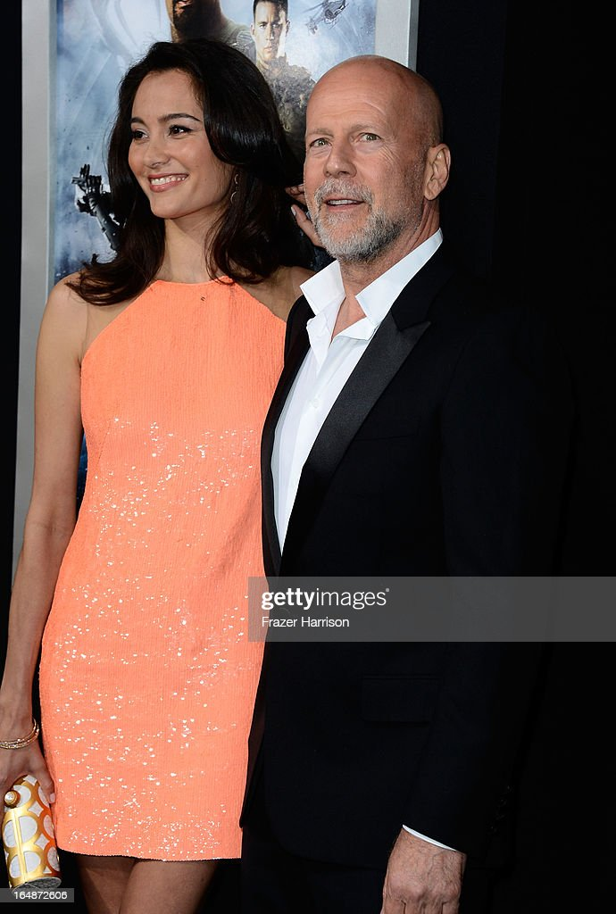 Emma Heming and actor Bruce Willis arrive at the Premiere of Paramount Pictures' 'G.I. Joe: Retaliation' at TCL Chinese Theatre on March 28, 2013 in Hollywood, California.