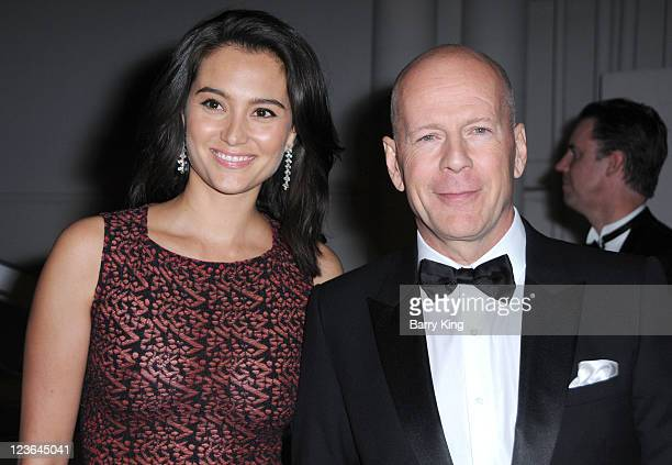 Emma Heming and actor Bruce Willis arrives at The Weinstein Company and Realativity Media's 2011 Golden Globes after party held at Bar 210 inside The...
