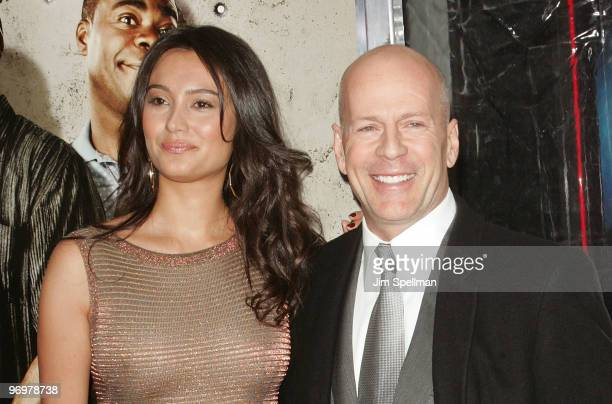 Emma Heming and Actor Bruce Willis attend the premiere of Cop Out at AMC Loews Lincoln Square 13 on February 22 2010 in New York City