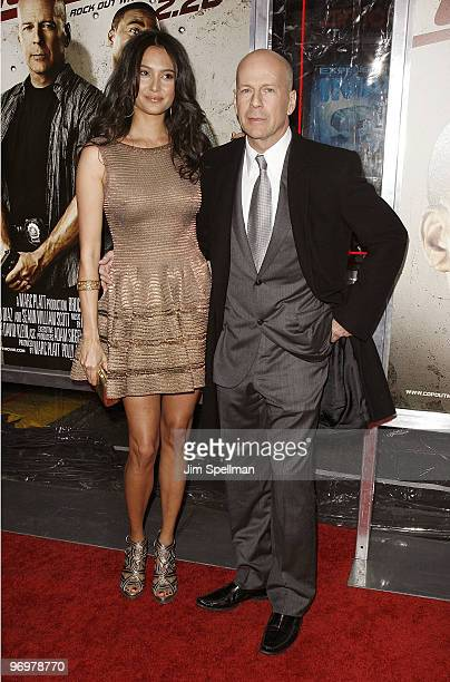Emma Heming and Actor Bruce Willis attend the premiere of 'Cop Out' at AMC Loews Lincoln Square 13 on February 22 2010 in New York City