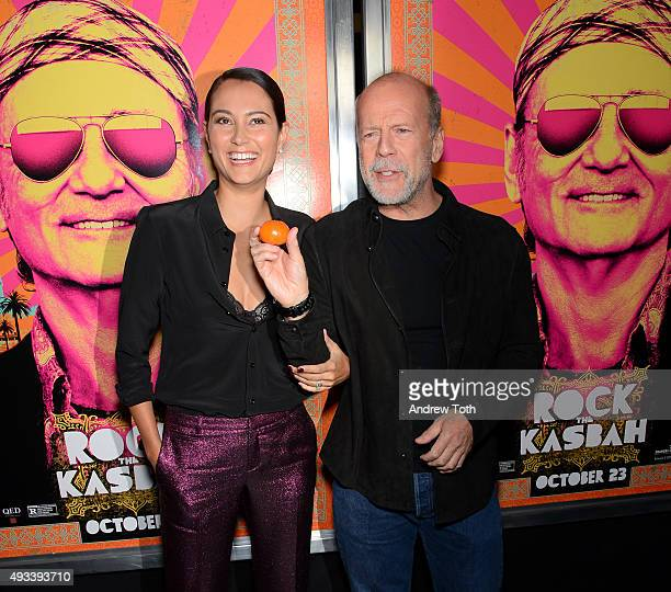 Emma Heming and Bruce Willis attend 'Rock The Kasbah' New York premiere at AMC Loews Lincoln Square 13 theater on October 19 2015 in New York City