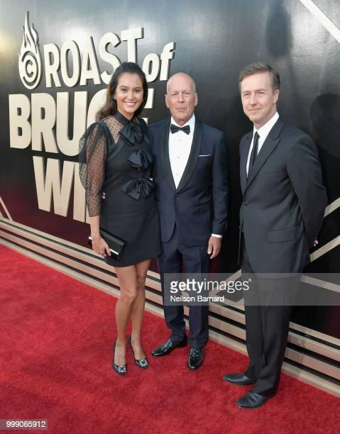 Emma Heming Bruce Willis and Edward Norton attend the Comedy Central Roast of Bruce Willis at Hollywood Palladium on July 14 2018 in Los Angeles...