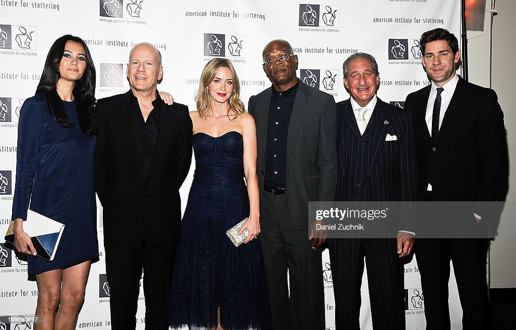 Emma Heming, Bruce Willis, Emily Blunt, Samuel L. Jackson, Arthur M. Blank and John Krasinski attend the 7th Annual 'Freeing Voices, Changing Lives' Benefit Gala at Tribeca Rooftop on June 3, 2013 in New York City.