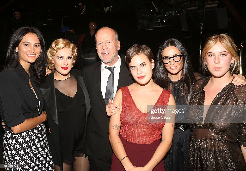 Emma Heming, Rumer Willis, father Bruce Willis, sister Tallulah Belle Willis, mother Demi Moore and sister Scout LaRue Willis pose backstage as Rumer makes her broadway debut as 'Roxie Hart' in Broadway's 'Chicago' on Broadway at The Ambassador Theater on September 21, 2015 in New York City.