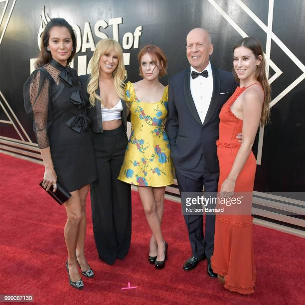 Emma Heming, Rumer Willis, Tallulah Willis, Bruce Willis and Scout Willis attend the Comedy Central Roast of Bruce Willis at Hollywood Palladium on...
