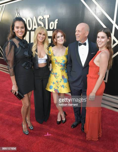 Emma Heming, Rumer Willis, Tallulah Willis, Bruce Willis, and Scout Willis attend the Comedy Central Roast of Bruce Willis at Hollywood Palladium on...