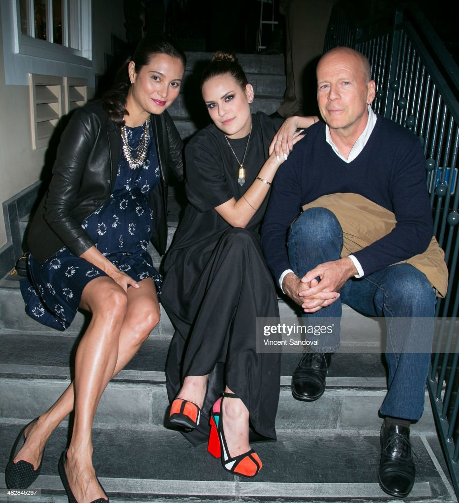 Emma Heming, Tallulah Willis and Bruce Willis attend Tallulah Willis and Mallory Llewellyn celebrate the launch of their new fashion blog 'The Clothing Coven' at Elodie K. on April 4, 2014 in West Hollywood, California.