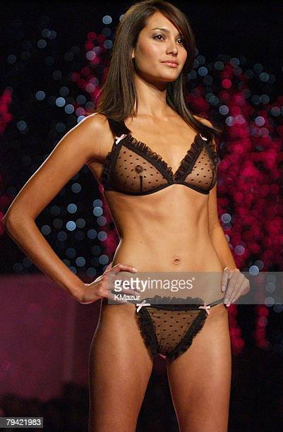 Emma Heming wearing black Victoria's Secret point D'Esprit bra and panty set