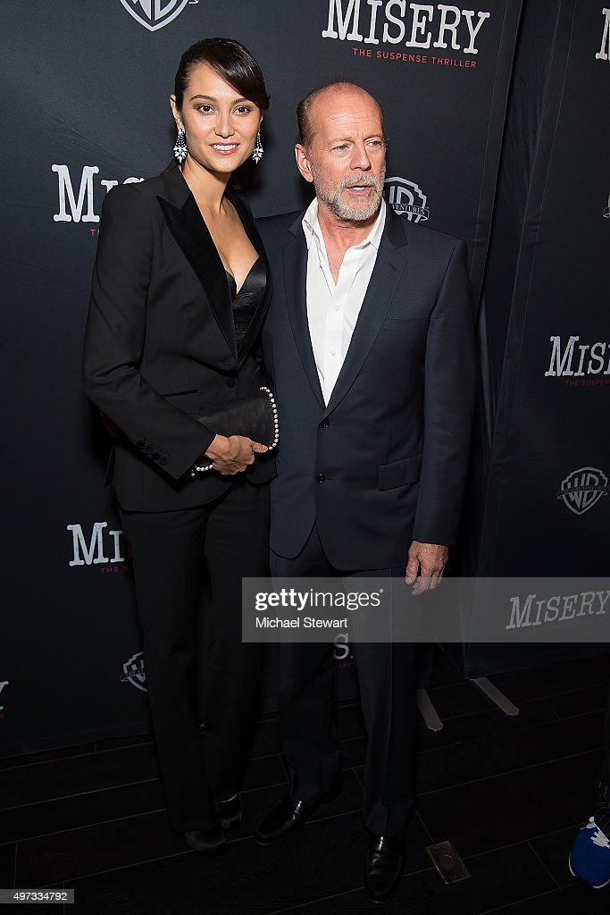 Emma Heming Willis (L) and actor Bruce Willis attend the 'Misery' Broadway opening night after party at TAO Downtown on November 15, 2015 in New York City.
