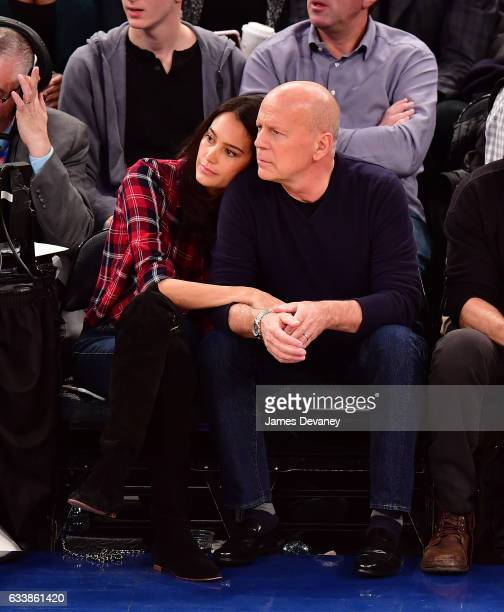Emma Heming Willis and Bruce Willis attend Cleveland Cavaliers Vs New York Knicks game at Madison Square Garden on February 4 2017 in New York City
