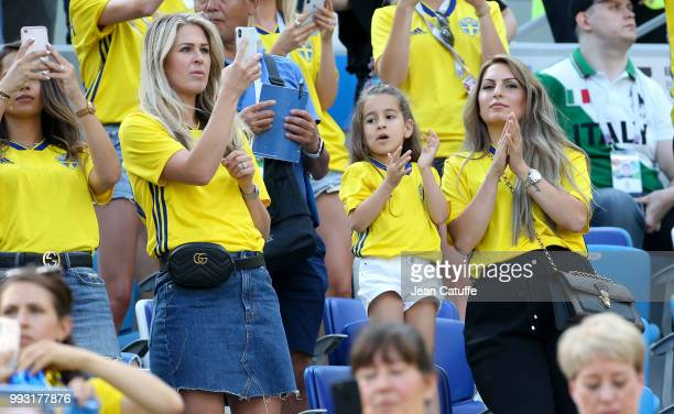 Emma Herbring Toivonen wife of Ola Toivonen of Sweden attends the 2018 FIFA World Cup Russia group F match between Sweden and Korea Republic at...