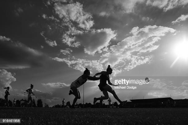 Emma Humphries of the Demons kicks the ball during the round two AFLW match between the Melbourne Demons and the Adelaide Crows at Casey Fields on...