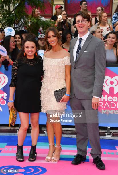 Emma Hunter Laura Cilevitz and Dave Barclay arrive at the 2017 iHeartRADIO MuchMusic Video Awards at MuchMusic HQ on June 18 2017 in Toronto Canada