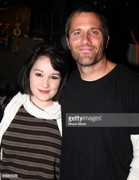 Emma Hunton and Rob Estes pose backstage at Spring Awakening on Broadway at The Eugene O'Neill Theatre on December 19 2008 in New York City