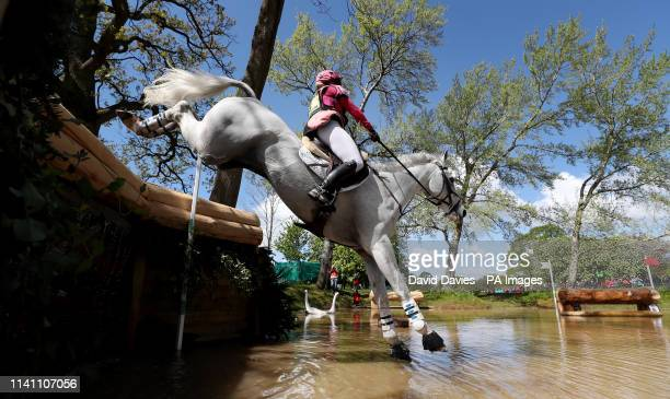 Emma HyslopWebb on Waldo III at the Hildon Water Pond on the Cross Country during day four of the 2019 Mitsubishi Motors Badminton Horse Trials at...