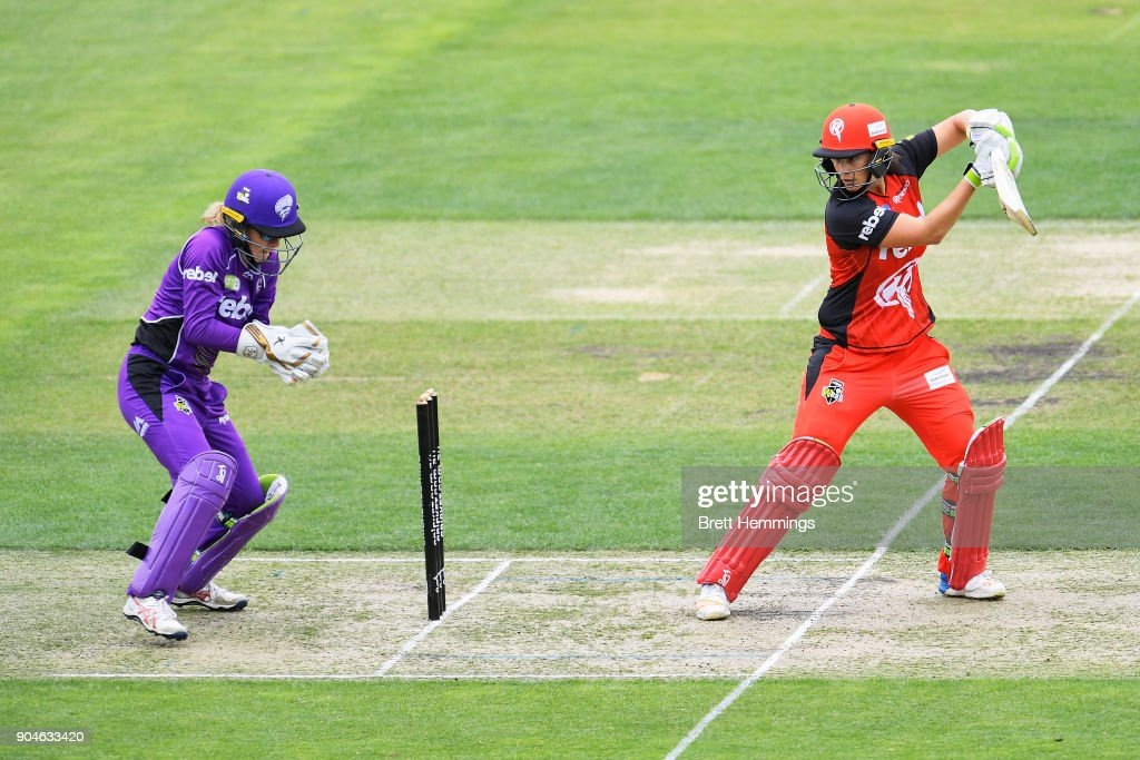 Emma Inglis of the Renegades bats during the Women's Big Bash League match between the Melbourne Renegades and the Hobart Hurricanes at Blundstpne Arena on January 14, 2018 in Hobart, Australia.