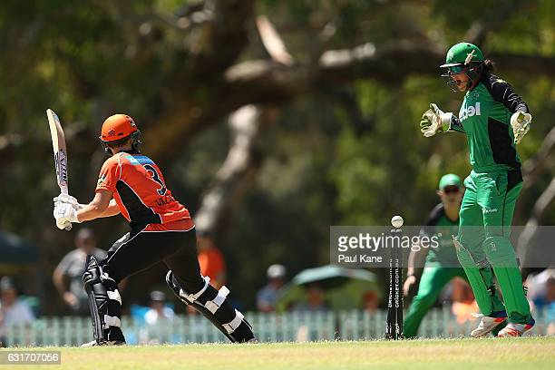 Emma Inglis of the Stars celebrates the dismissal of Elyse Villani of the Scorchers during the Women's Big Bash League match between the Melbourne...