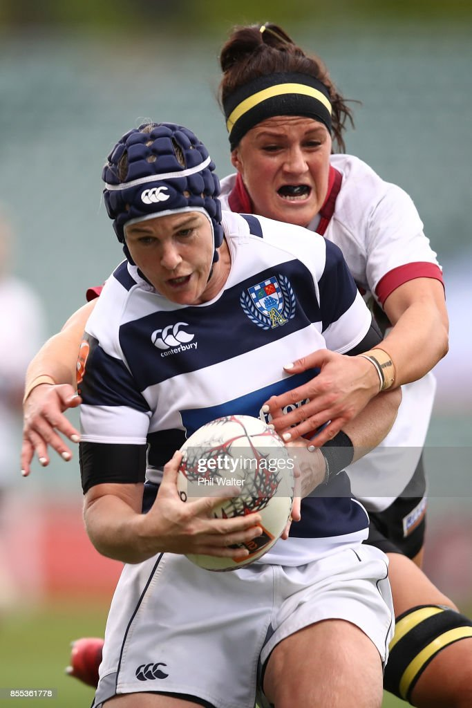 Emma Jensen of Aucklan is tackled during the round five Farah Palmer Cup match between North Harbour and Auckland at QBE Stadium on September 29, 2017 in Auckland, New Zealand.
