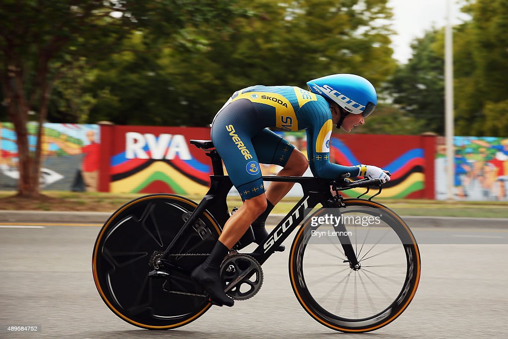 Emma Johansson of Sweden in action during the Women's Elite Individual Time Trial on day three of the UCI Road World Championships on September 22, 2015 in Richmond, Virginia.