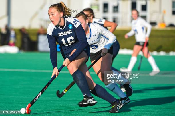 Emma Johns of Middlebury dribbles upfield during the Division III Women's Field Hockey Championship held at Spooky Nook Sports on November 24 2019 in...