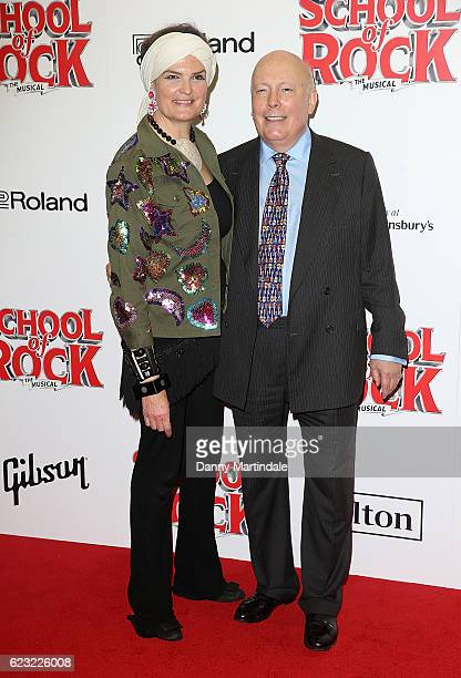 Emma Joy Kitchener and Julian Fellowes attend the opening night of 'School Of Rock The Musical' at The New London Theatre Drury Lane on November 14...