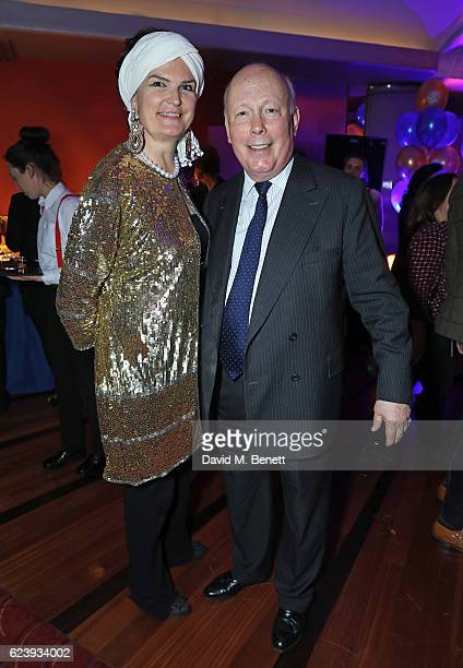 Emma Joy Kitchener and Julian Fellowes attend the press night after party for 'Half A Sixpence' at The Prince of Wales Theatre on November 17 2016 in...