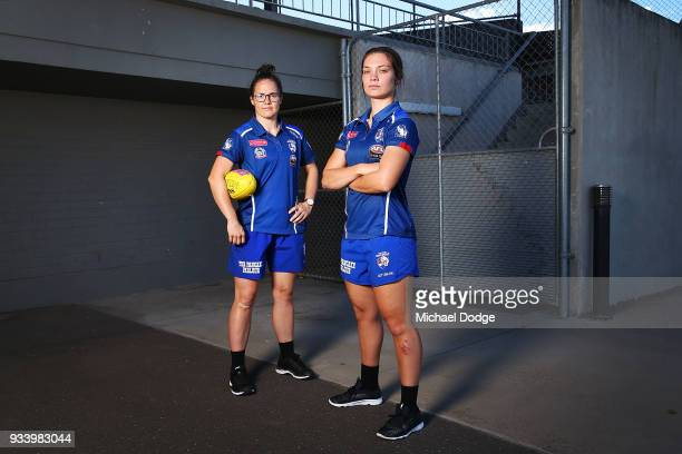 Emma Kearney and Ellie Blackburn pose during a Western Bulldogs AFLW media opportunity at Victoria University Whitten Oval on March 19 ahead of this...
